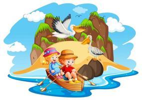 Children row boat beach scene vector