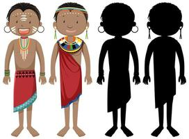 People of African tribes character and silhouette vector