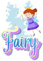 Fairy text with little fairy on white background