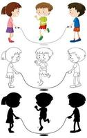 Three kids playing jump rope in color, outline, silhouette vector