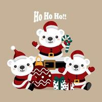 Christmas bears in Santa Claus outfits