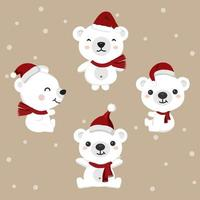 Set of bears wearing Santa's hat for Christmas