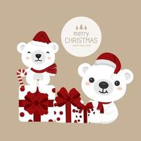 Christmas bears in Santa hats with gifts