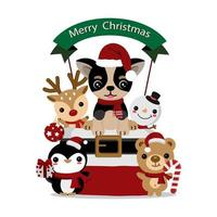 Cute Christmas chihuahua and animal friends