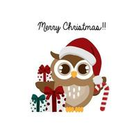 Christmas owl with candy cane and gifts