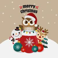Christmas owl and cute friends in winter scene