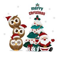 Santa and owls with Christmas tree and gifts