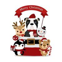 Christmas design with cute animal friends