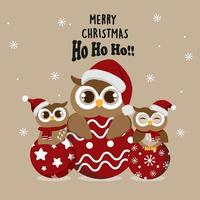 Christmas owls in Santa hats on ornaments