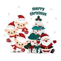 Santa and cute lambs with Christmas tree and gifts