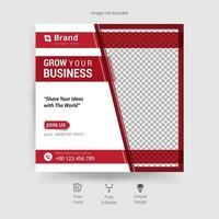 Business social media template in red and white