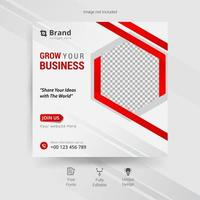 Business social media template in white, gray and red