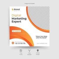 plantilla de redes sociales de marketing con diseño de curva naranja