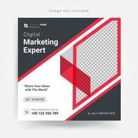 Plantilla de redes sociales de marketing en gris y rojo.