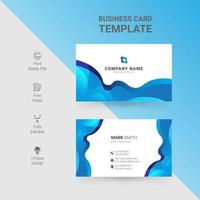 White business card with gradient blue waves design