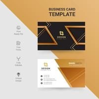 Modern business card with angled gold accents