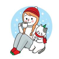 Hand drawn Christmas woman and cat drink coffee