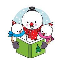 Hand drawn Christmas snowman family reading book