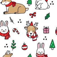 Hand drawn cartoon cute Christmas seamless pattern