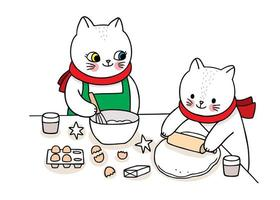 Hand drawn mother and kid cats baking Christmas cookies