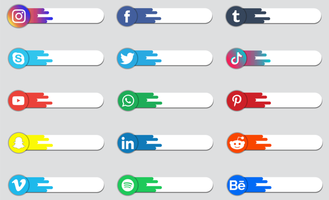 Social media logo badge or label collection