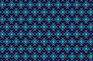 Red and blue ribal shapes fabric pattern