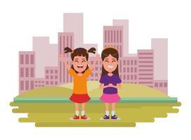 personajes de dibujos animados infantiles en la escena de la ciudad
