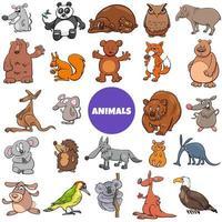 Comic wild animal characters large set
