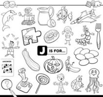 Letter J educational task coloring book page