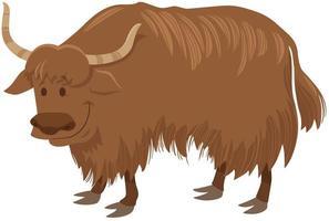 personaje de animal salvaje de dibujos animados de yak vector