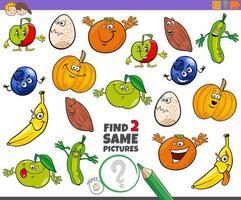 Encuentra dos mismos personajes juego educativo para niños. vector