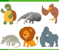 Funny cartoon animal characters set