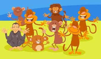 grupo de personajes de animales de monos de dibujos animados