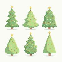 Flat Christmas Tree Icons Set vector