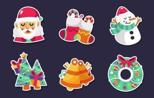 Christmas Cartoon Character Stickers vector