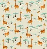 patrón sin fisuras con lindas jirafas y árboles vector