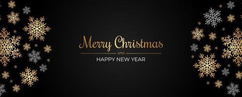 Banner navideño con copos de nieve dorados y grises sobre negro
