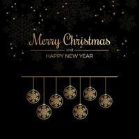 tarjeta de navidad con copos de nieve y adornos colgantes de contorno