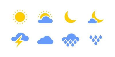 Colored weather icon set vector