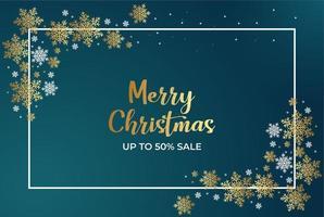 cartel de venta de navidad con copos de nieve y marco