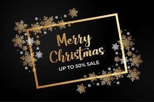 cartel de venta de navidad con copos de nieve y marcos dorados
