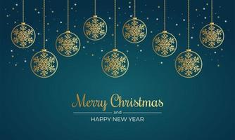 cartel navideño con copos de nieve dorados y adornos