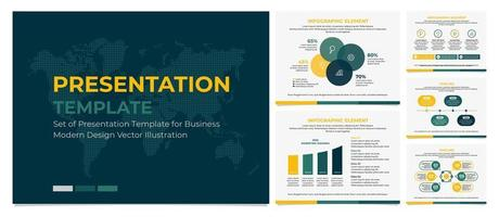 Business presentation template in green and yellow vector