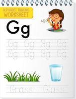 hoja de trabajo de rastreo alfabético con la letra g vector
