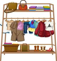 Clothes hanging on a clothesline with accessories vector