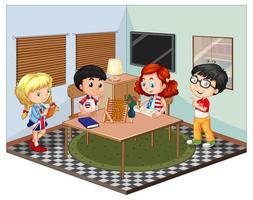 Kids in the living room scene