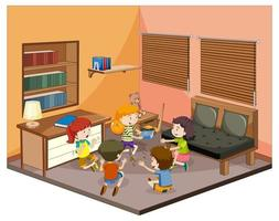 Children in living room with furniture