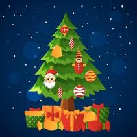 Christmas Tree Decoration on Snowy Night vector