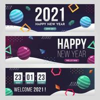 Futuristic Geometric 2021 New Year Banner vector