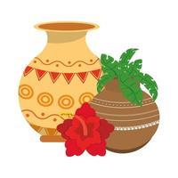flores de loto indias y tarros de porcelana decorativa con hojas